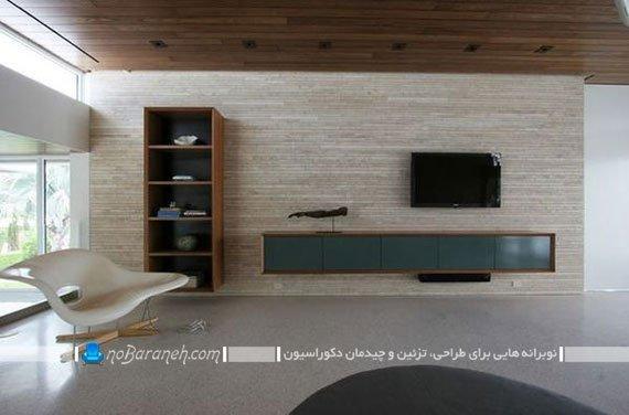 پوشش دیوار پشت تلویزیون با سنگ دکوراتیو
