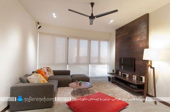 دیزاین دیوار پشت تلویزیون با پنل چوبی