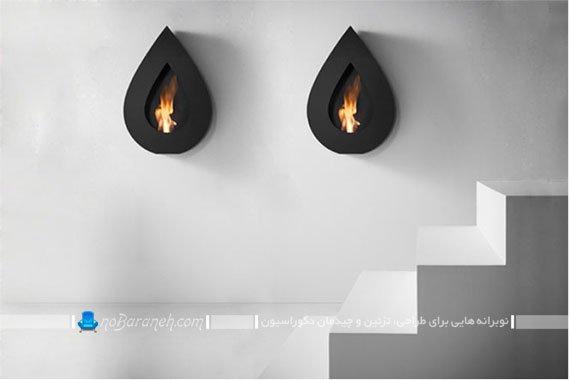تزیین دیوار خانه با شومینه اتانولی