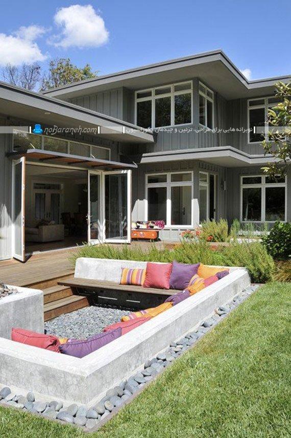 طراحی اتاق نشیمن در حیاط خانه ویلایی