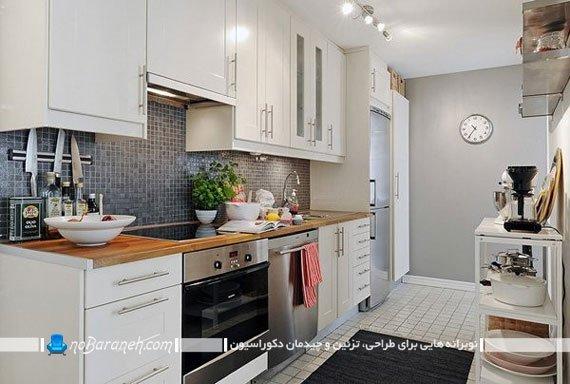 طراحی دکوراسیون تیره و روشن در فضای آشپزخانه