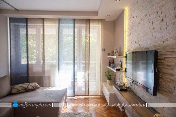 دیزاین دیوار پشت تلویزیون با سنگ دکوراتیو
