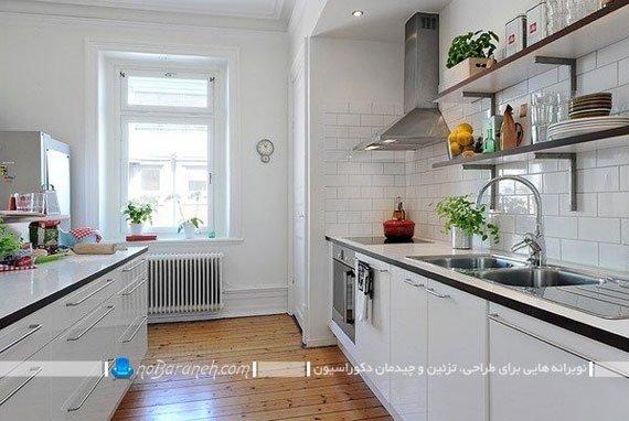 پوشش دیوارهای آشپزخانه با کاشی ساده سفید