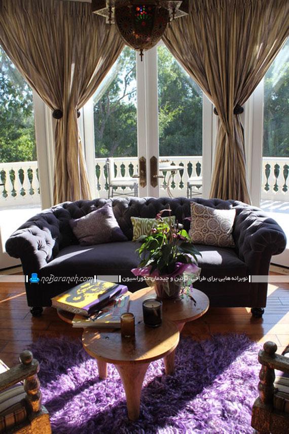 کاناپه راحتی سه نفره با رویه لمسه دوزی شده