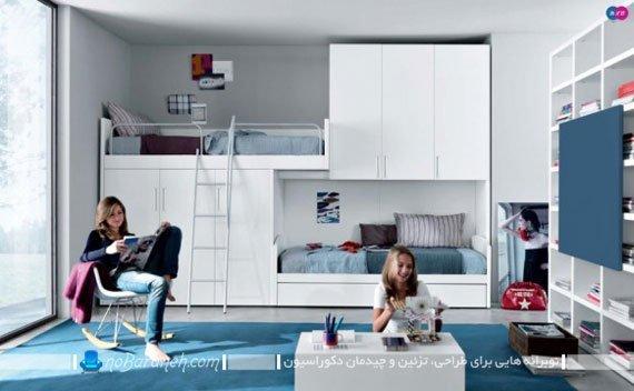 دیزاین دخترانه اتاق خانمهای جوان با آبی و سفید