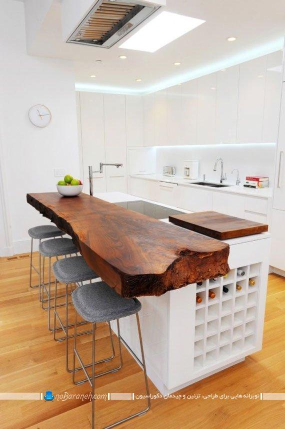 اپن آشپزخانه کلاسیک با طرح تنه درختی