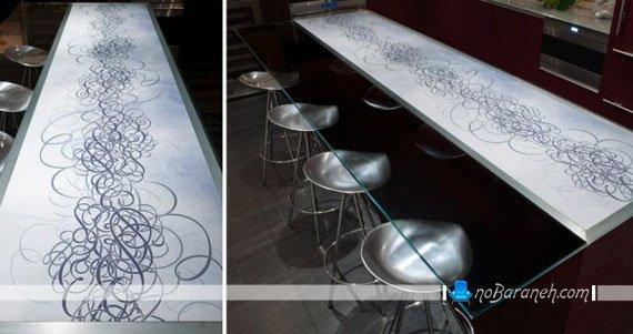 تزیین میز اپن آشپزخانه طرح فانتزی و شیک اپن آشپزخانه