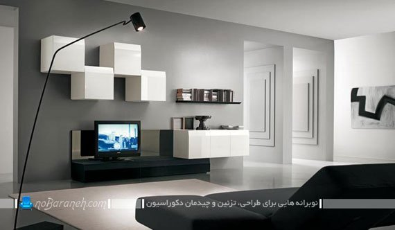باکس دیواری مدرن برای تزیین اطراف تلویزیون