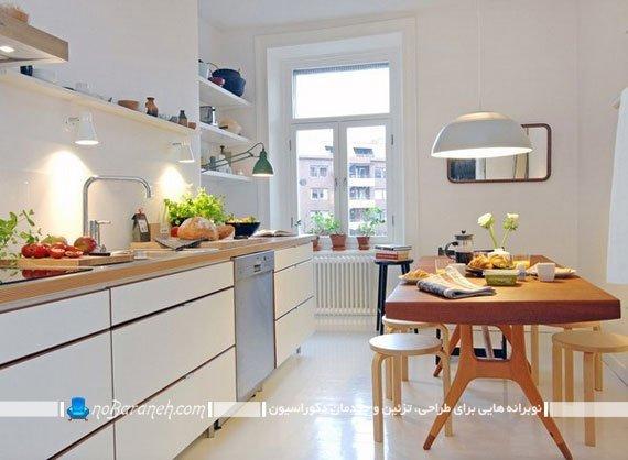 ترکیب رنگ سفید با طرح چوب در دکوراسیون داخلی آشپزخانه