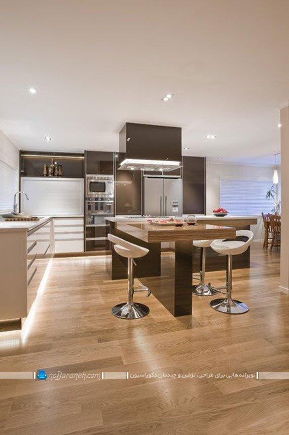 مدل میز جزیره ای مدرن و شیک طرح جدید و فانتزی. میز جزیره برای آشپزخانه کوچک و نقلی مدرن. دکوراسیون آشپزخانه جزیره