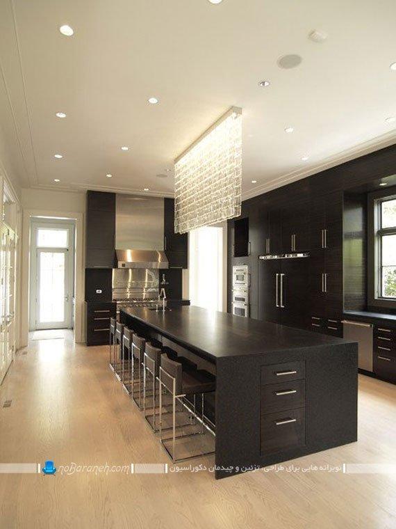 مدل های بزرگ و جادار میز جزیره آشپزخانه با بدنه چوبی ام دی اف mdf. طرح شیک مدرن جدید جزیره آشپزخانه با ابعاد بزرگ به جای ناهارخوری.