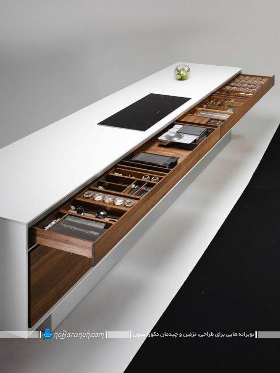 کشو کاری و قفسه بندی اپن آشپزخانه طرح جدید و شیک کشوکاری میز اپن با جنس ام دی اف mdf