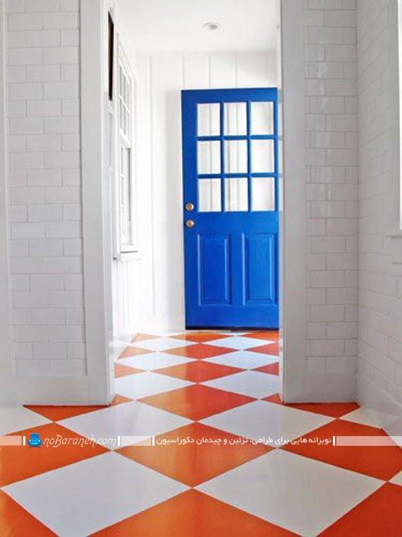 پارکت سفید و نارنجی طرح لوزی