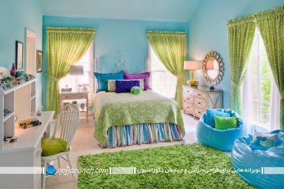 تزیین اتاق کودکان با رنگ های سبز و آبی