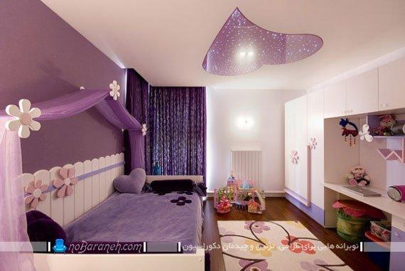 طراحی و تزیین دکوراسیون دخترانه اتاق کودکان با رنگ بنفش