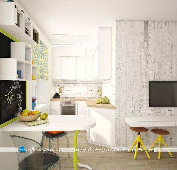 طراحی دکوراسیون داخلی آشپزخانه کوچک با رنگ سفید