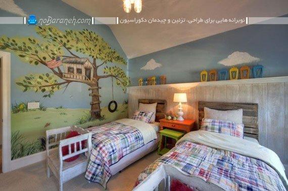 طراحی دکوراسیون فانتزی در اتاق نوجوانان دو قلو