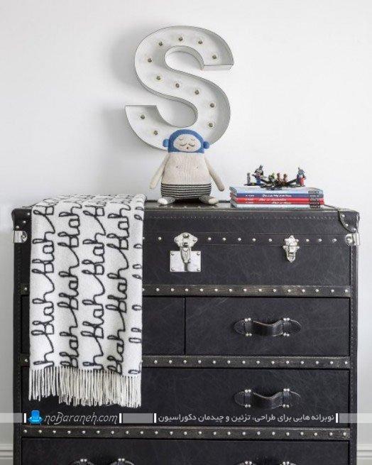 طراحی دکوراسیون اتاق بچه با سیاه و سفید
