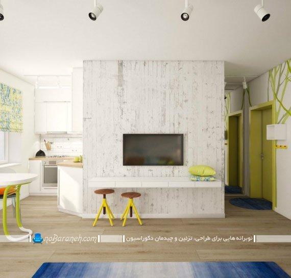 طراحی دکوراسیون آپارتمان کوچک با دیزاین با نشاط