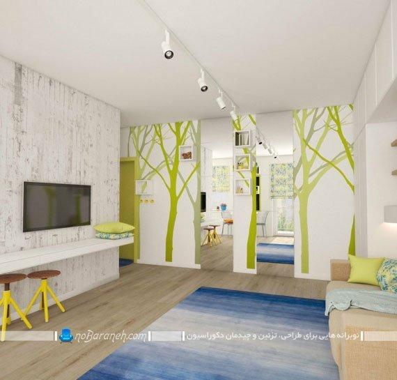 تزیین دیوارهای داخلی با دیوارپوش چوبی و استیکر