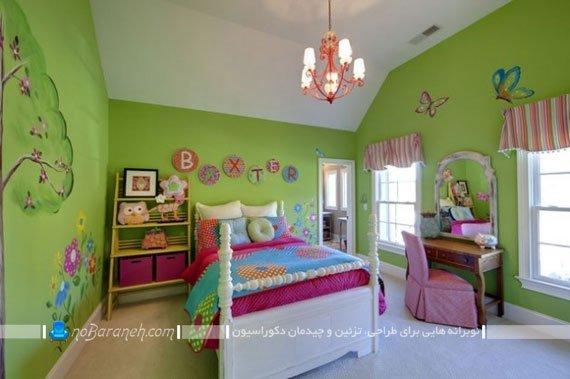 دکوراسیون اتاق خواب کودک و نوجوان با رنگ بندی سبز و سفید