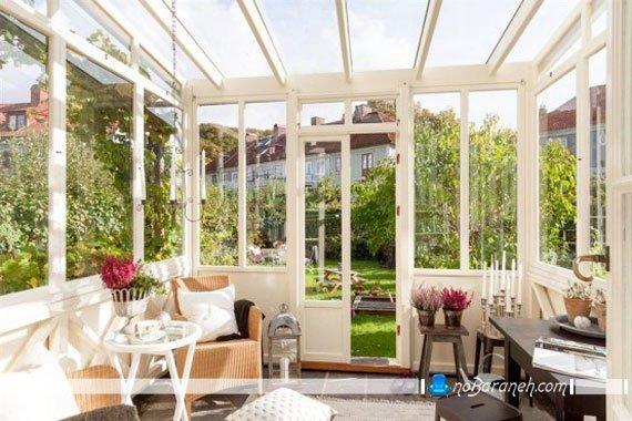 کلبه شیشه ای در فضای باز و حیاط منزل