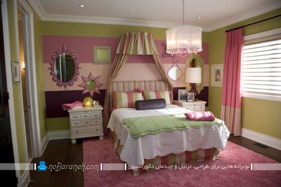 تزیین اتاق خواب کودک با رنگ های شاد و متنوع