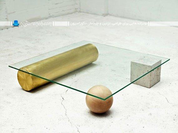 میز جلو مبلی شیشه ای با نمایش تعادل
