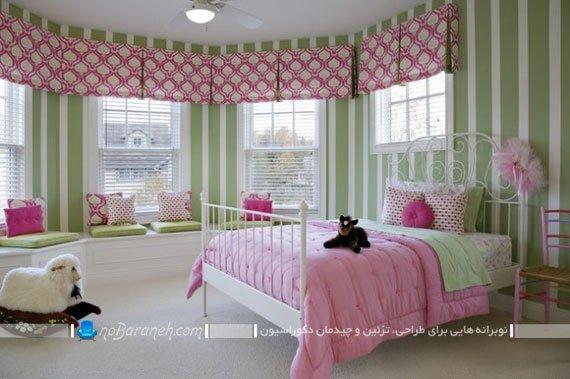 اتاق خواب دخترانه کودک با رنگ آمیزی صورتی و سفید و سبز