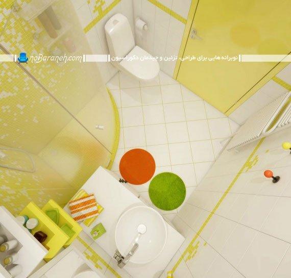 تزیین دکوراسیون داخلی حمام و دستشویی با کاشی سفید و سبز