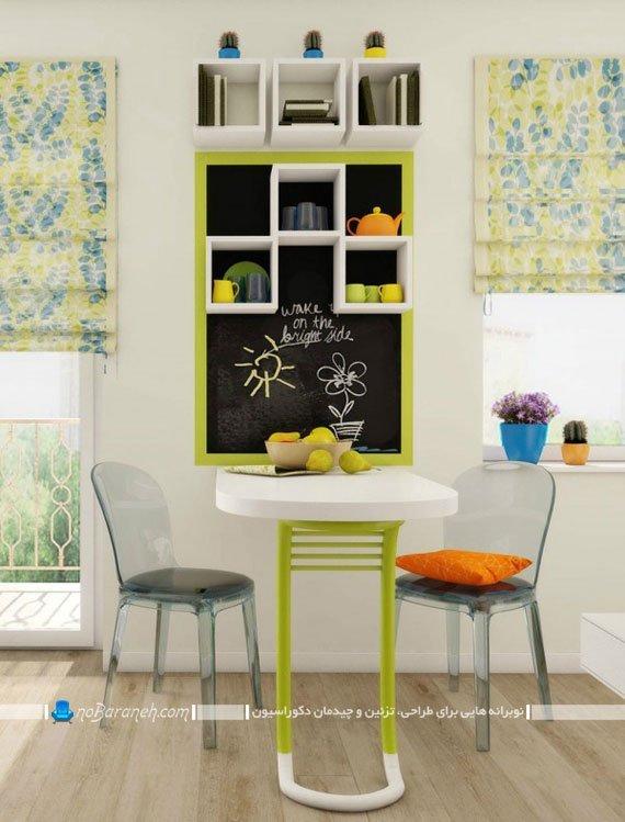 تزیین دیوارهای خانه با تخته سیاه و شلف دیواری با رنگ های شاد