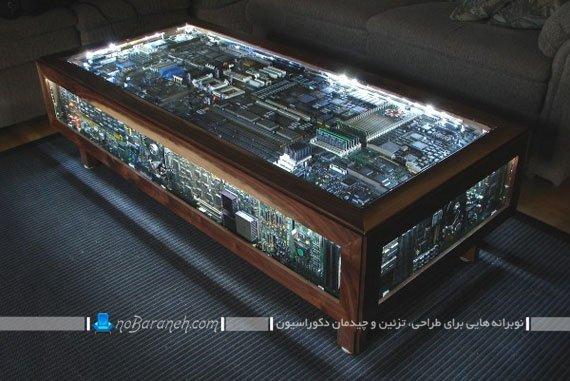 میز پذیرایی و جلو مبلی با نمای شهری