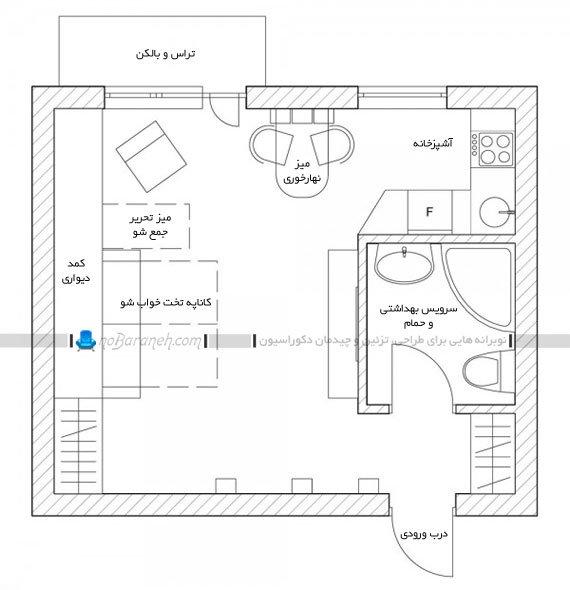 نقشه پلان خانه آپارتمانی کوچک
