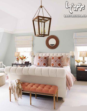 تزیین اتاق خواب با رنگ نارنجی