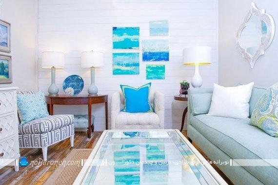 دیزاین اتاق نشیمن و پذیرایی به شکل دریایی