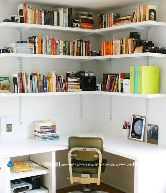 شلف و کتابخانه دیواری سه طبقه سفید رنگ