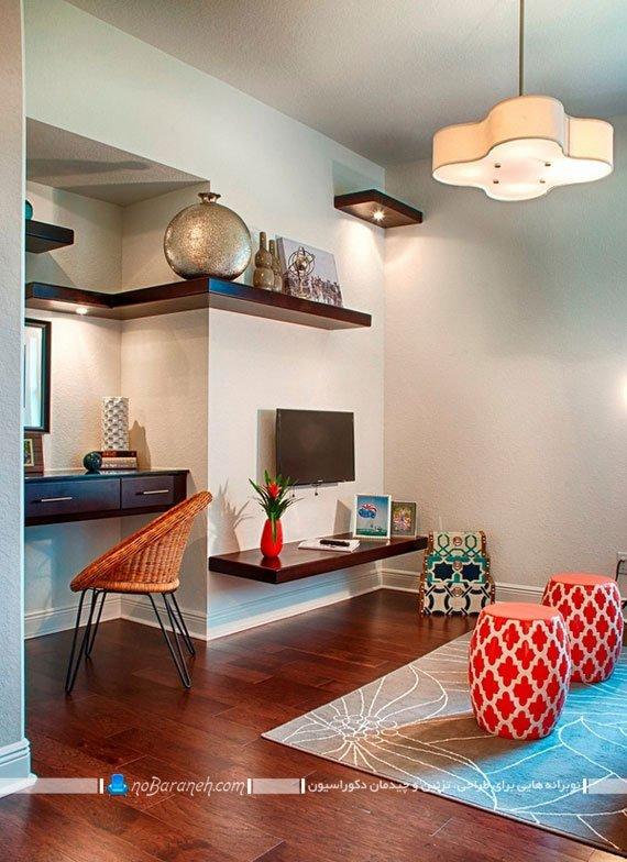 تزیین دیوار و کنج ها در خانه، با شلف دکوری و باکس چوبی