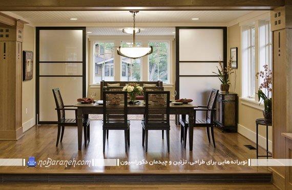 پارتیشن ریلی شیشه ای و چوبی