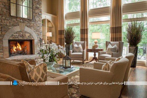 مبلمان و پرده کلاسیک اتاق پذیرایی با طرح سلطنتی