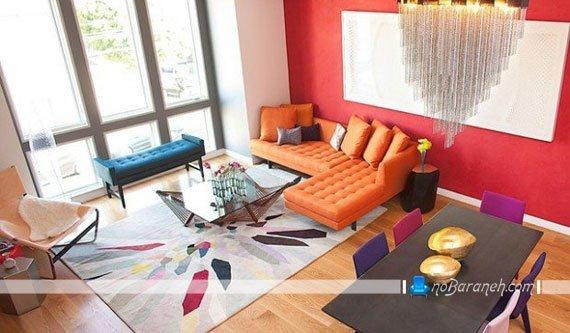 دیزاین مدرن اتاق پذیرایی با رنگ های دخترانه