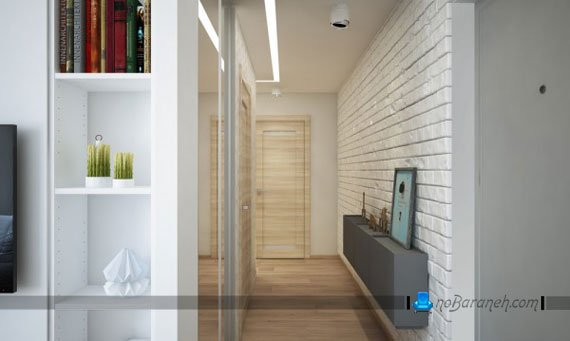 دیوارپوش مدرن و آجری راهرو خانه کوچک و نقلی