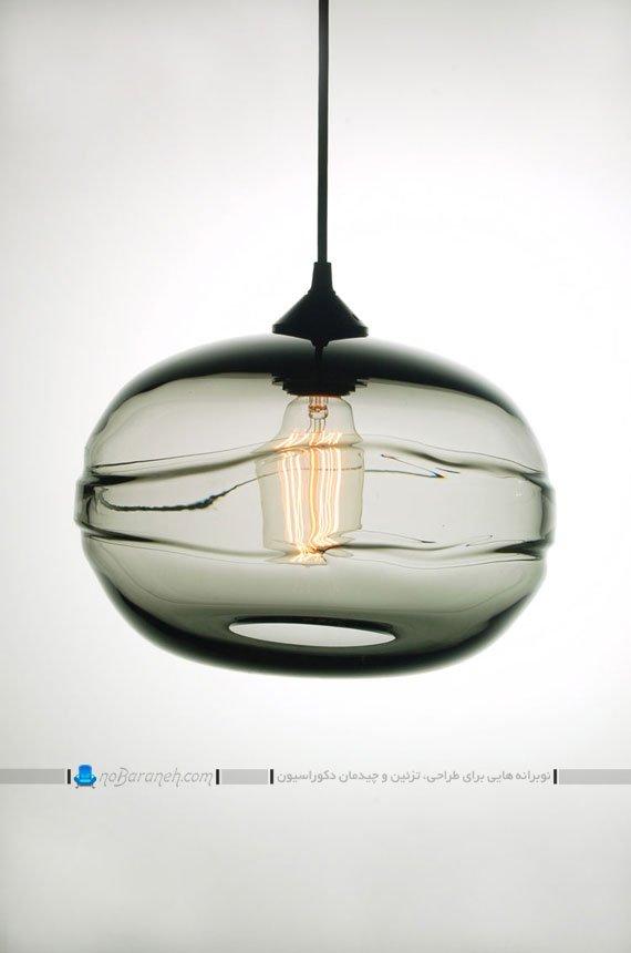 لوستر و چراغ بلوری شیشه ای با طرح و مدل ساده