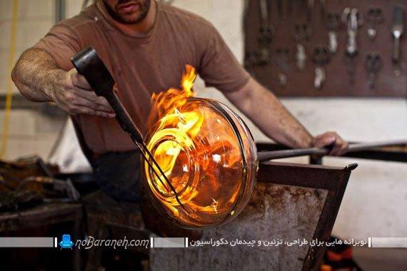 هنر ساخت و تولید چراغ شیشه گری شده