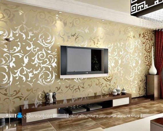 تزیین اتاق پذیرایی با کاغذ دیواری آینه ای فانتزی