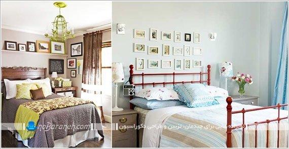 نصب قاب عکس برای تزیین دیوار پشت تخت خواب