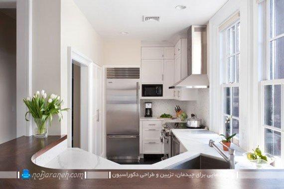 اپن آشپزخانه با طراحی دو تکه