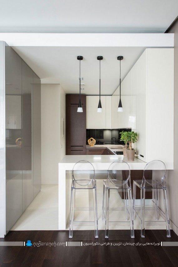 ترکیبی از رنگ های سفید و قهوه ای در آشپزخانه