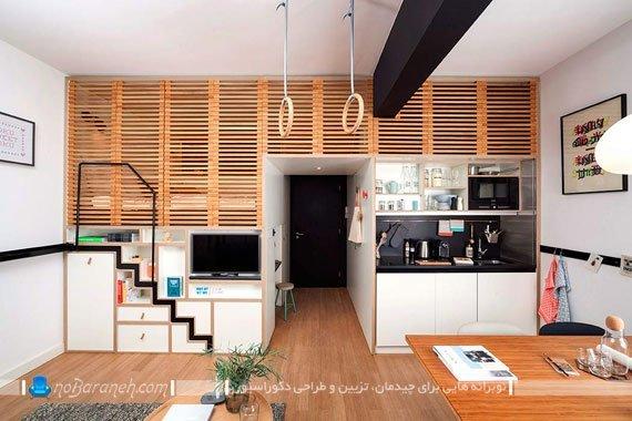 طراحی دکوراسیون شیک و چوبی منزل کوچک
