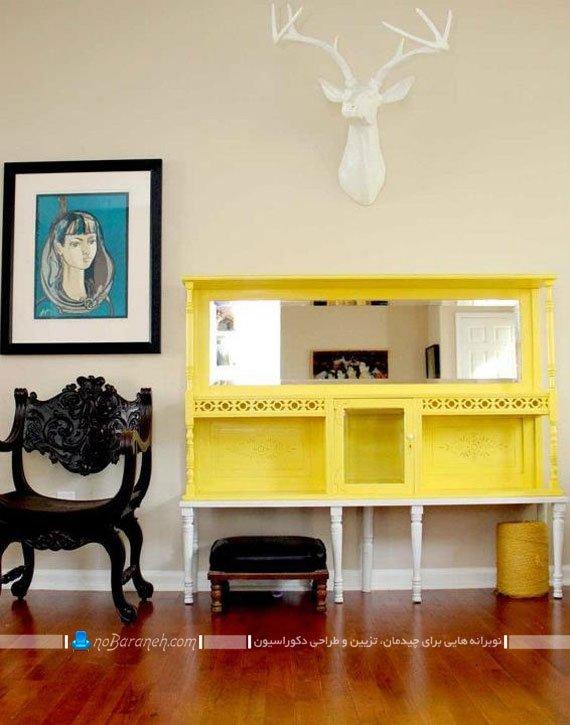 تزیین فضای خانه با کنسول چوبی زرد رنگ