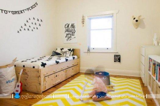 تزئین اتاق کودک با فرش زرد رنگ